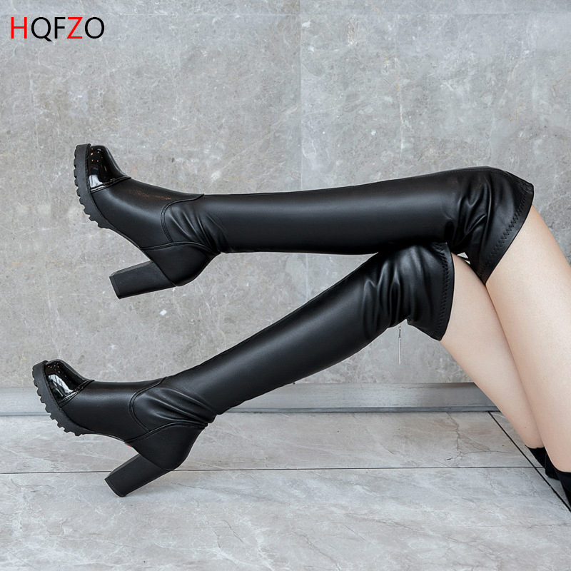 HQFZO Buckle Platform Women Winter  Boots Over The Knee Boots Sexy Female Autumn Winter Thigh High Leather Botas Bottes Femme