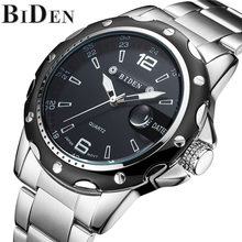 Hot Sale BIDEN Luxury Men Watch Military Sport Quartz Wristwatch Stainless Steel Strap Date Watches Mens Business Clock(China)