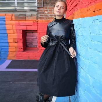 2019 Winter Pu Patchwork Sashes Dress Long Sleeve Stand Collar A Line Dress Vintage New Fashion Black Solid Elegant Knee Dresses 1