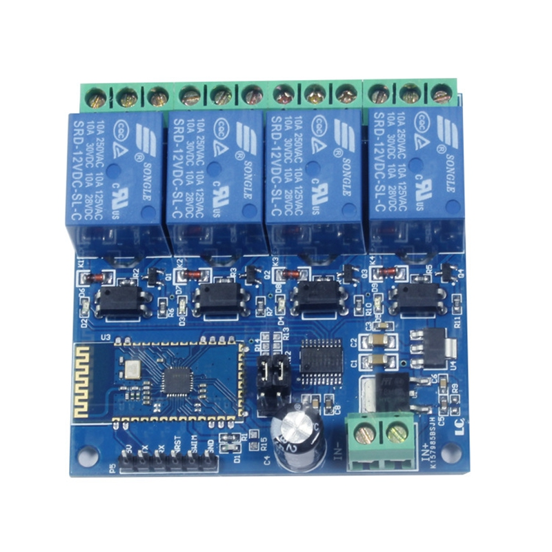<font><b>12V</b></font> <font><b>4CH</b></font> Remote Control Switch Bluetooth <font><b>Relay</b></font> <font><b>Module</b></font> for Android Mobile Motor LED Light DIY Electronic Kit image