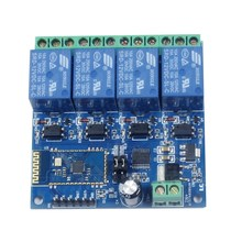 12V 4CH Remote Control Switch Bluetooth Relay Modul untuk Android Motor Lampu LED DIY Elektronik Kit(China)