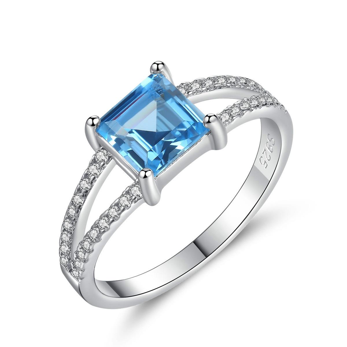 Модные 925 твердого стерлингового серебра Аквамарин драгоценный камень Свадебные обручальные кольца бриллианты кольца для женщин, хорошая ...