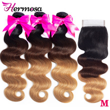 Closure Human-Hair Body-Wave-Bundles Hermosa Brazilian 4/27 with Non-Remy Middle-Ratio