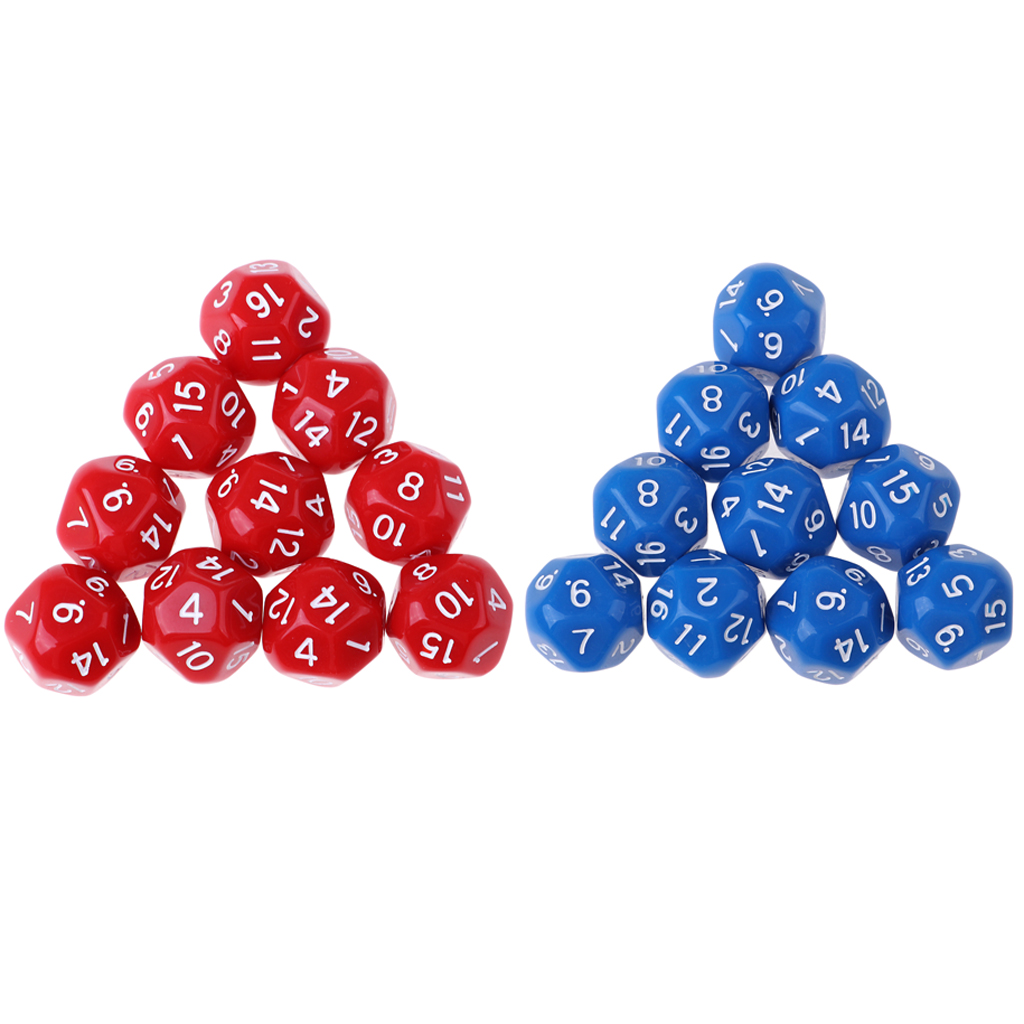 Pack of 20 Dice Set D16 Acrylic Dice for Role Playing Game Supplies DND Game Blue & Red