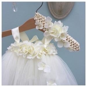 Image 4 - White Hydrangea Wedding Flower Girl Dress Kids O neck Sleeveless Christmas Dress Robe Princess Fluffy Girls Birthday Tutu Dress