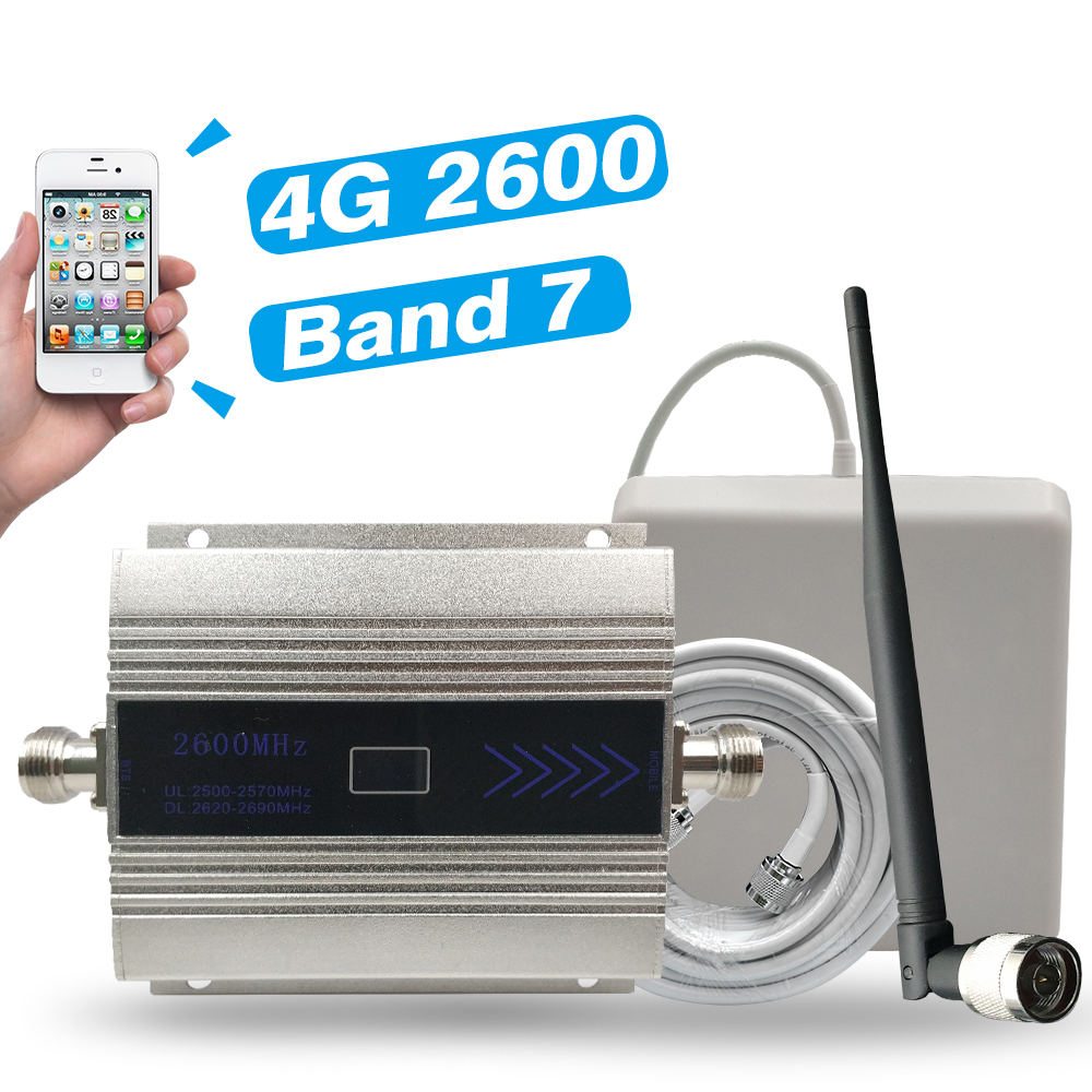 4G Signal Booster FDD-LTE 2600 (LTE Band 7) Cell Phone Signal Repeater 4G 2600mhz Internet Mobile Signal Amplifier Antenna Kits