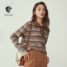 FANSILANEN Polo striped vintage knitted sweater Women long sleeve oversized pullover Female autumn winter button up jumper top