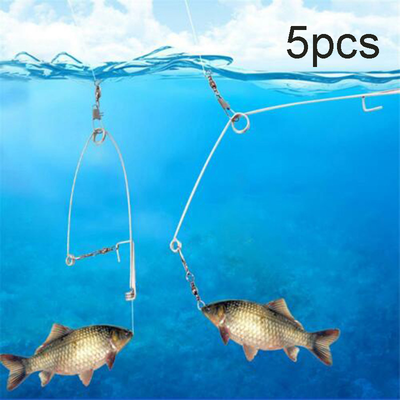 Fishing Newly 5Pcs Stainless Steel Hook Trigger Spring Fishing Hook Setter Bait Bite Triggers the Hook Catch Fish Automatically Peche