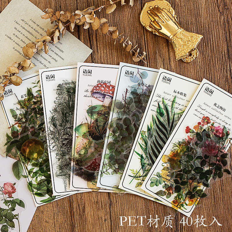 Vintage Plant Bloem Paddestoel Decoratieve Pet Stickers Scrapbooking Stok Label Dagboek Briefpapier Album Sticker