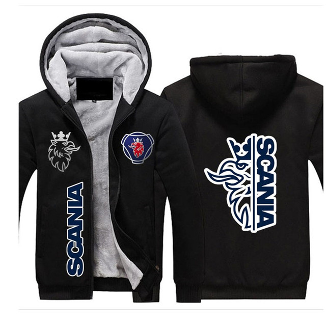 2021SCANIA Winter Hoodies Men Seat Logo Jacket Thicken Warm Fleece cotton Zipper Raglan Coat Male Tracksuits 2