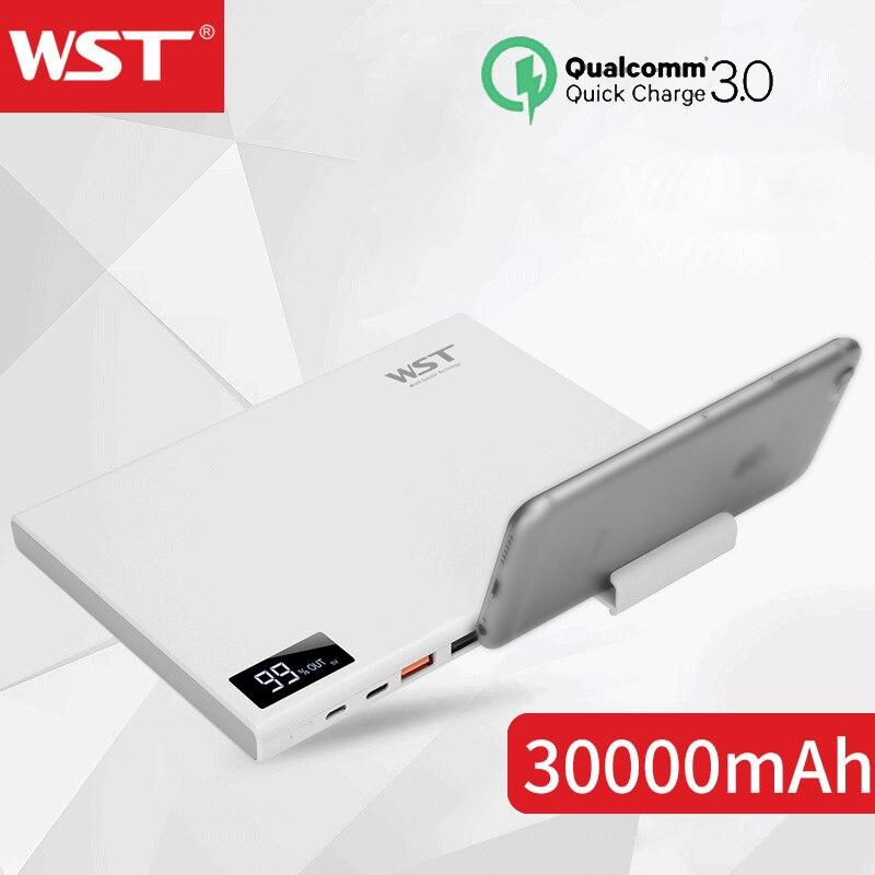 WST Batterie Externe 30000mAh QC3.0 Powerbank avec support pour téléphone Ultra-mince Portable chargeur Batterie Externe 30000 Batterie Externe