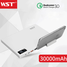 WST Power Bank 30000mAh QC3.0 Powerbank With Phone Holder Ultra-thin Portable Charger 30000 Batterie Externe