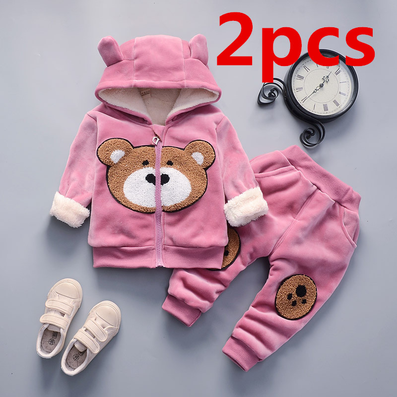 Baby Girl Winter Warm Clothes Cotton Bear Cartoon Printing Three Layers Plus Velvet Padded Sweater Hooded Male Baby 2 Piece Set