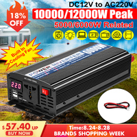 Dual USB 12000W DC 12V to AC 220V Car Power Inverter Charger Converter Adapter DC 12 to AC 220 Modified Sine Wave Transfomer