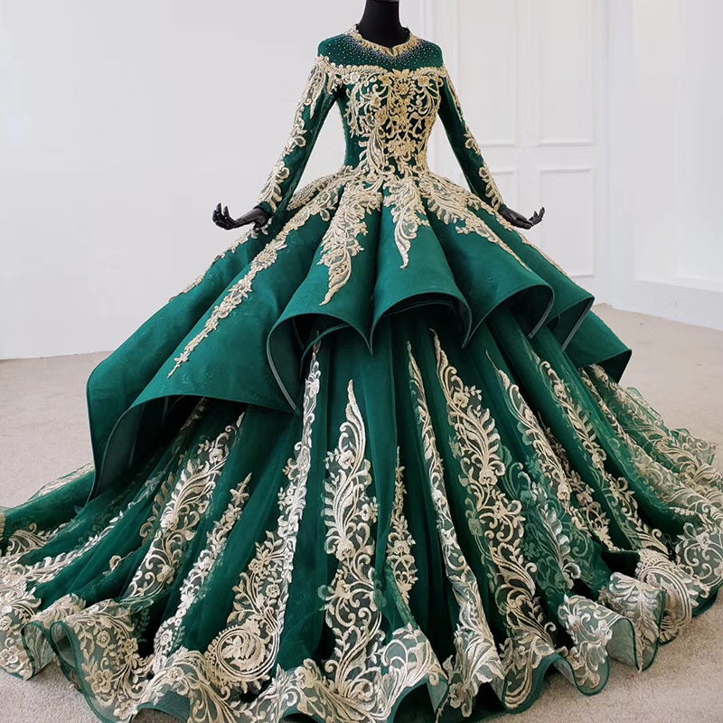 Image 2 - HTL1099 Luxury green evening dress long sleeve appliques beads ball gown lace arabic evening dress plus size vestidos elegantesEvening Dresses   -