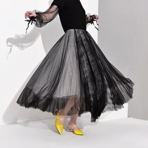 Image 4 - [EAM] High Waist Black Multilayer Mesh Split Joint Temperament Half body Skirt Women Fashion Tide New Spring Autumn 2020 JT1360