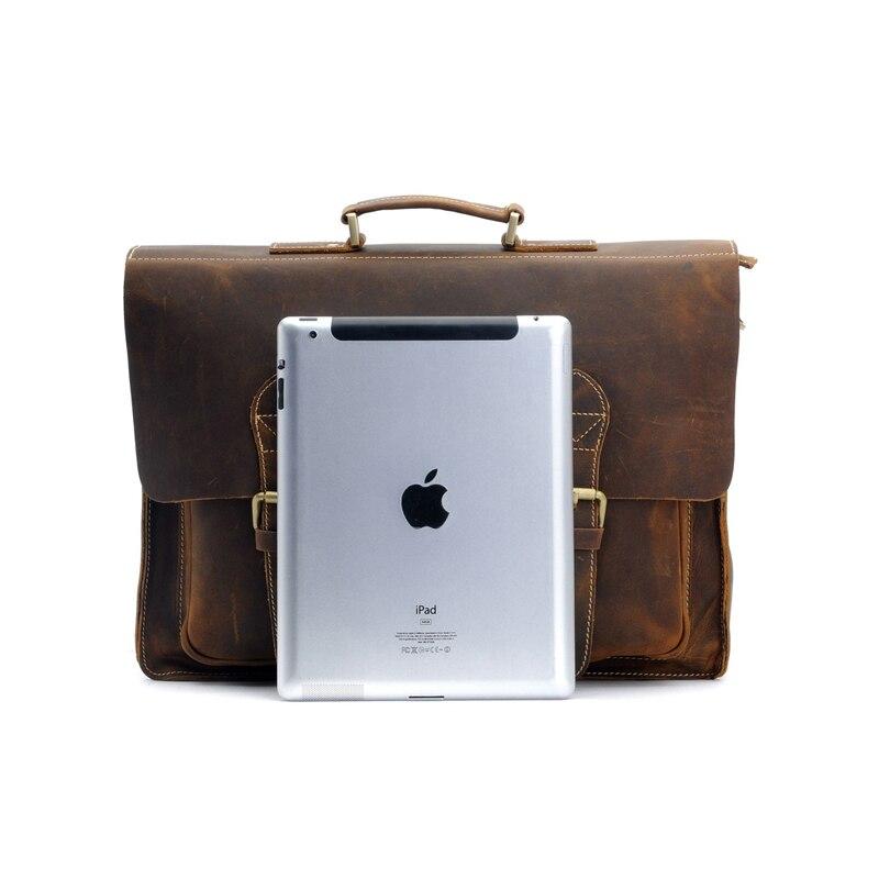 Высококачественный Мужской винтажный кожаный портфель Crazy Horse, сумка через плечо, сумка для ноутбука, чехол, Офисная сумка 1061 - 4