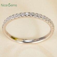 14 585 ホワイトゴールド 0.25 ctw 薄型フランスパヴェセットモアッサナイトの結婚指輪ハーフ永遠と 20 個モアッサナイト石ウェディングバンド
