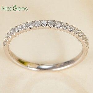 Image 1 - 14 585 ホワイトゴールド 0.25 ctw 薄型フランスパヴェセットモアッサナイトの結婚指輪ハーフ永遠と 20 個モアッサナイト石ウェディングバンド