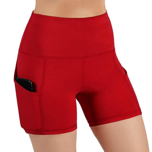 Slim Solid Shaper Sport Women Shorts Pocket High-Waist Hip Stretch Biker Short Running Fitness Athletic Casual Skinny Short 3