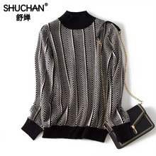 Shuchan Turtleneck Striped Sweaters Fashion 2019 Women Fall Winter 80%Rabbit+20% Wool Women Sweaters and Pullovers black цена и фото