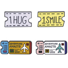 creative Air tickets design 1hug 1smile women men pins brooches label pins fashion party gifts accessories(China)