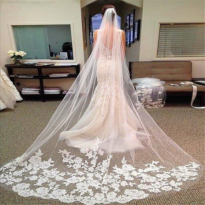 E JUE SHUNG Elegant Long Bridal Veils One Layer Wedding Veil Cathedral Wedding Veil With Comb Lace Appliques Veu De Noiva