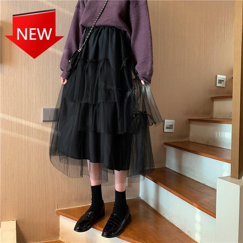 Party Tutu Rock Kawaii Unregelmäßigen Puffy Tüll Lange Schwarz Rock Koreanischen Stil Frauen Midi Mesh Rock Süße Göttin Retro