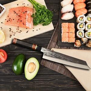 Image 5 - 24cm סושי סשימי סכין יפני vg10 דמשק פלדה Kiritsuke סלמון דגי פילה מטבח שף סכין עם אוקטגון ידית 2.1G