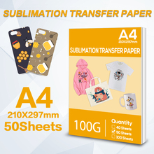 A4 50 Sheets Heat Transfer Paper Sublimation Printing Paper for Polyester Cotton T-Shirt Hat Cap Cup for Inkjet Printer Paper