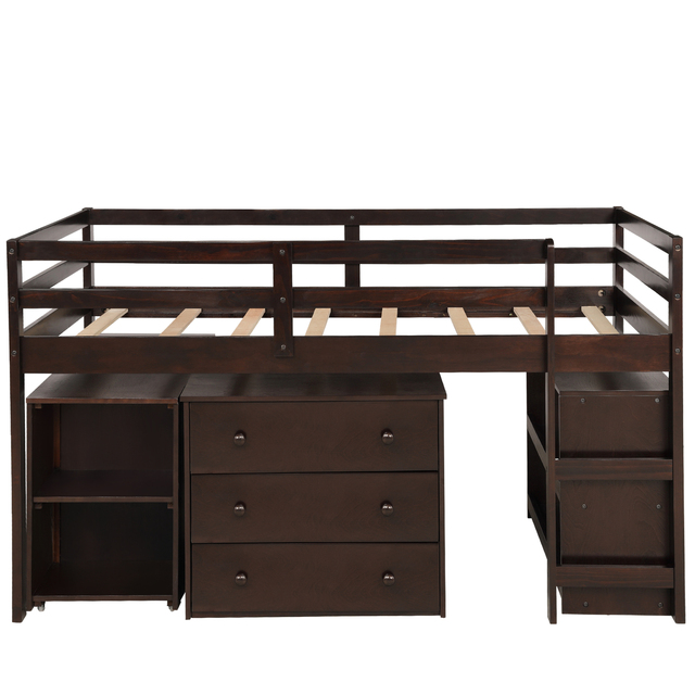 Twin Loft Bed with Cabinet and Desk 2