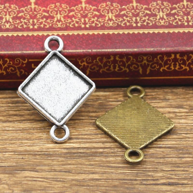 10pcs Fit 15mm Square Rhombus Double Hanging Glass Cabochon Base Setting Antique Bronze Silver Color Color Pendant DIY Making