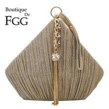 בוטיק דה FGG הפנטגון נשים סאטן ערב גביש שקיות ציצית מצמד תיקי חתונה מסיבת קוקטייל Minaudiere ארנקי תיק