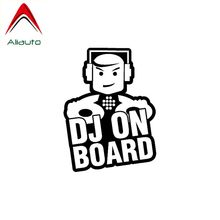 Aliauto Cute Funny Car Sticker Dj on Board Safety Vinyl Waterproof Sunscreen Anti-UV Reflective Decal Sign Black/Silver,9cm*12cm(China)