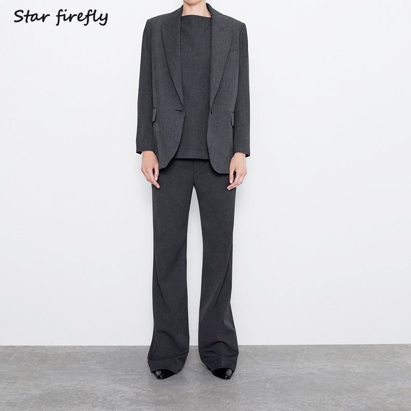 Star Firefly Office Suit Pants Suit Two-piece Female 2019 Pocket Loose Suit High Waist Pleated Straight Wide Leg Pants