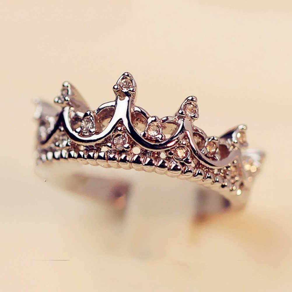 Mi corona de princesa reina anillo de compromiso de plata para mujer boda con claro CZ auténtica marca anillo joyería