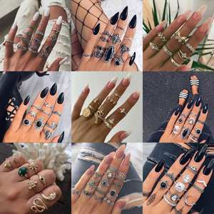 Boho Crystal Flower Rings Leaf Hollow Lotus Rhinestone Style snake Ring Set Gift Outfit 2020 Hot Popular Jewelry Rings For Women