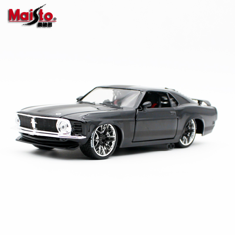 Maisto <font><b>1:24</b></font> 1970 <font><b>Ford</b></font> <font><b>Mustang</b></font> BOSS modified simulation alloy car model Toy car model decoration with Original Box image