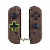 Wood Grain Soft Touch Controller Housing (D Pad Version) w/ Full Set Buttons Replacement Shell Case for Nintendo Switch Joy Con