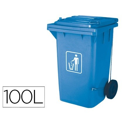 BIN CONTAINER Q-CONNECT PLASTIC WITH TAPADERA 100L COLOR BLUE 750X470X370 MM WITH WHEELS