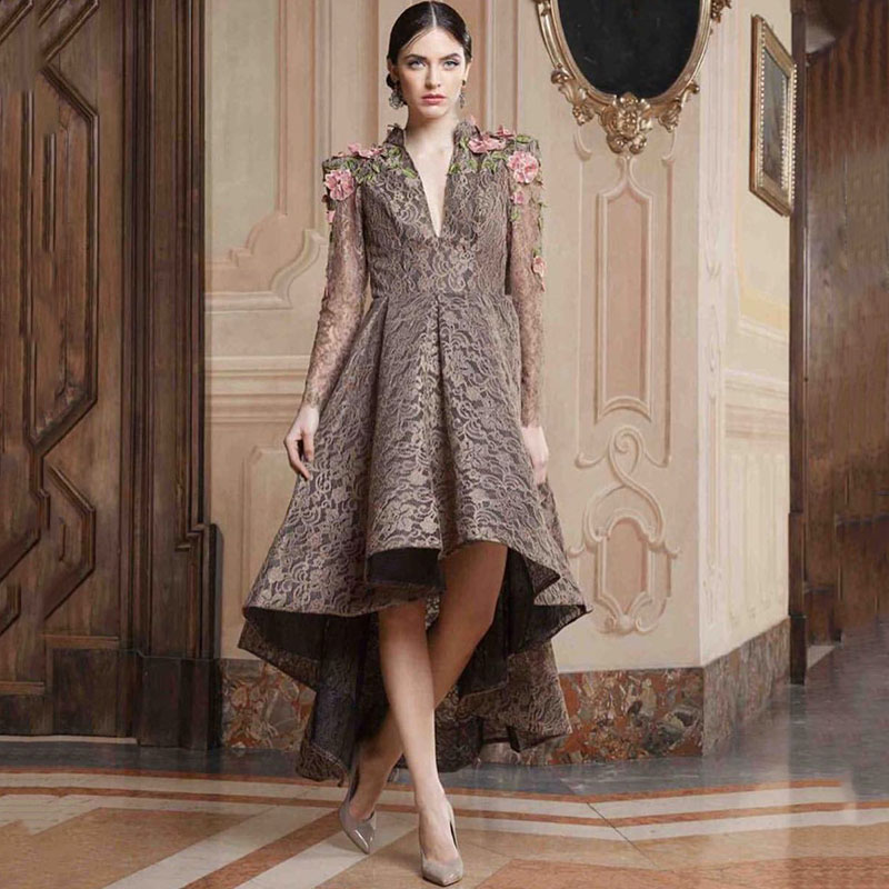Real Dubai Fashion Hi Lo Ankle Length Deep V Neck Long Sleeves Floral Lace Evening Wear Mother Of The Bride Dresses