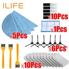 Odkurzacz automatyczny części do czyszczenia szczotka boczna podstawowego filtr pyłowy mop filtr Hepa dla ilife v5 v5s V3 V3s v5pro V50 V55 x5 v5s pro tanie tanio Filtry Odkurzacz części