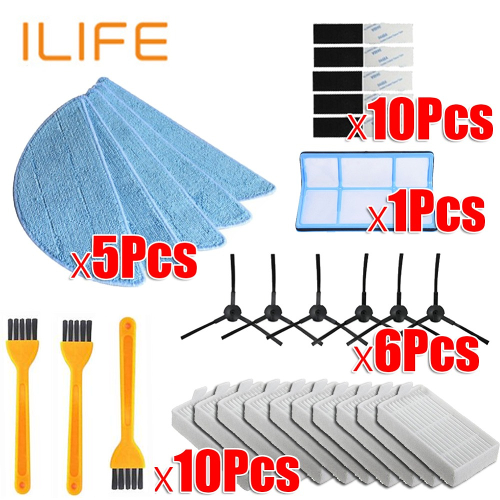 Vacuum Robot Cleaner Parts Side Brush Primary Dust Filter Mop Hepa Filter For Ilife V5 V5s V3 V3s V5pro V50 V55 X5 V5s Pro