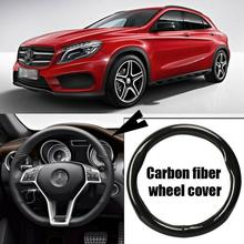 Car-styling 38cm black carbon fiber top PVC leather car steering wheel cover for Benz GLA car power steering repair kits gasket for benz w140 oe a140 460 29 01 a1404602901