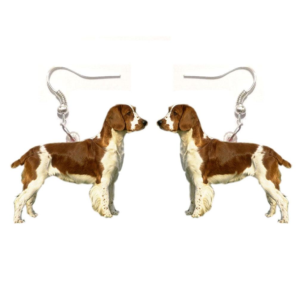 Welsh Springer Spaniel Acrylic Dog Earrings Fashion Women Girl Gift Jewelry Dangle Pendant Big Drop Love Pet Dogs Earring Party