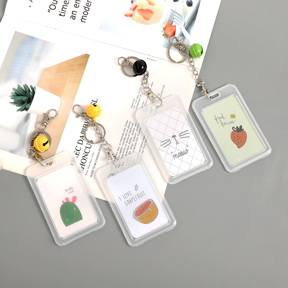 JIANWU Cute Bell ID Card Name Credit Holder Neck Strap Transparent Badge Clip Boy Girl Office School Supplies