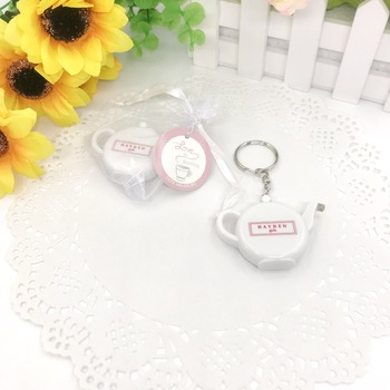100PCS Personalized Wedding Favors Mini Measuring Tape Keychains Printing LOGO Portable Teapot Keychain Tape Customized Gift