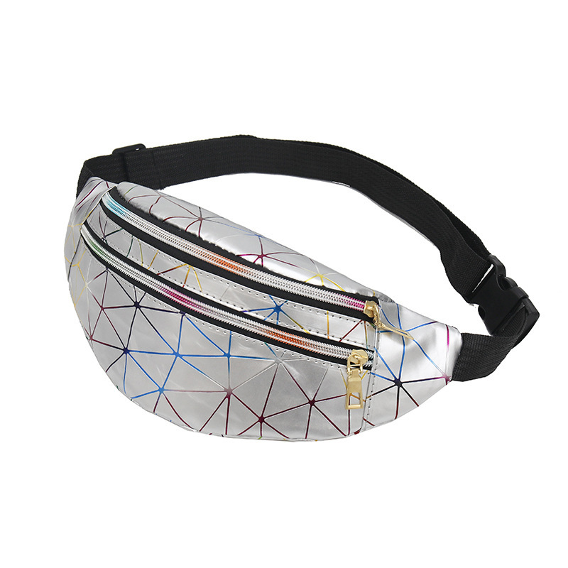 2021 New Holographic Waist Bags Women Banana Pink Fanny Pack Female Belt Bag Black Geometric Waist Packs Laser Chest Phone Pouch