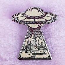 Pin esmaltado de paisaje natural, OVNI, has vista a un alien, he llegado con la nave espacial