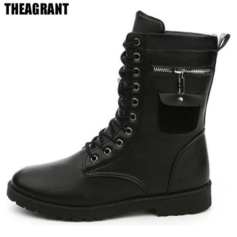 THEAGRANT 2019 Men Boots Pu Leather Man Flat Shoes Mid Calf Autumn Winter Male Lace Up Martin Combat Boots Footwear MBS3000 Lahore